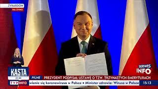 ‼️PILNE‼️ Prezydent Andrzej Duda podpisał ustawę przyznającą dodatkowe środki emerytom i rencistom