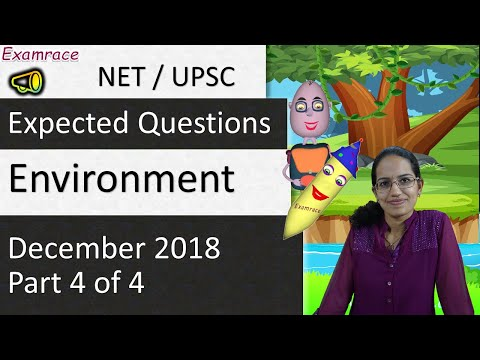 Expected Questions on Environment December 2018 - NTA NET / UPSC (Part 4 of 4)