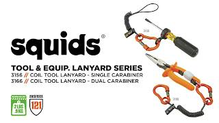 Squids 3166 Coil Tool Lanyard with Dual Carabiners – 0.9kg