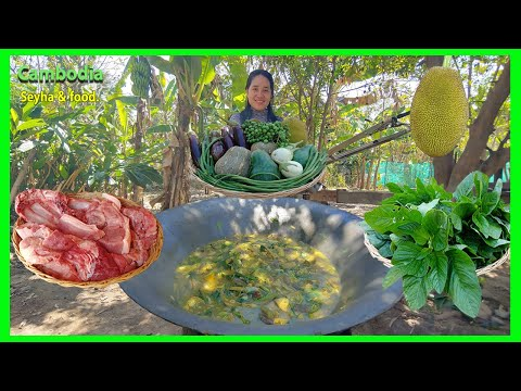 Picking Fresh Vegetable And Make Delicious Khmer Soup recipe [Korkou] - Food Around Cambodia.