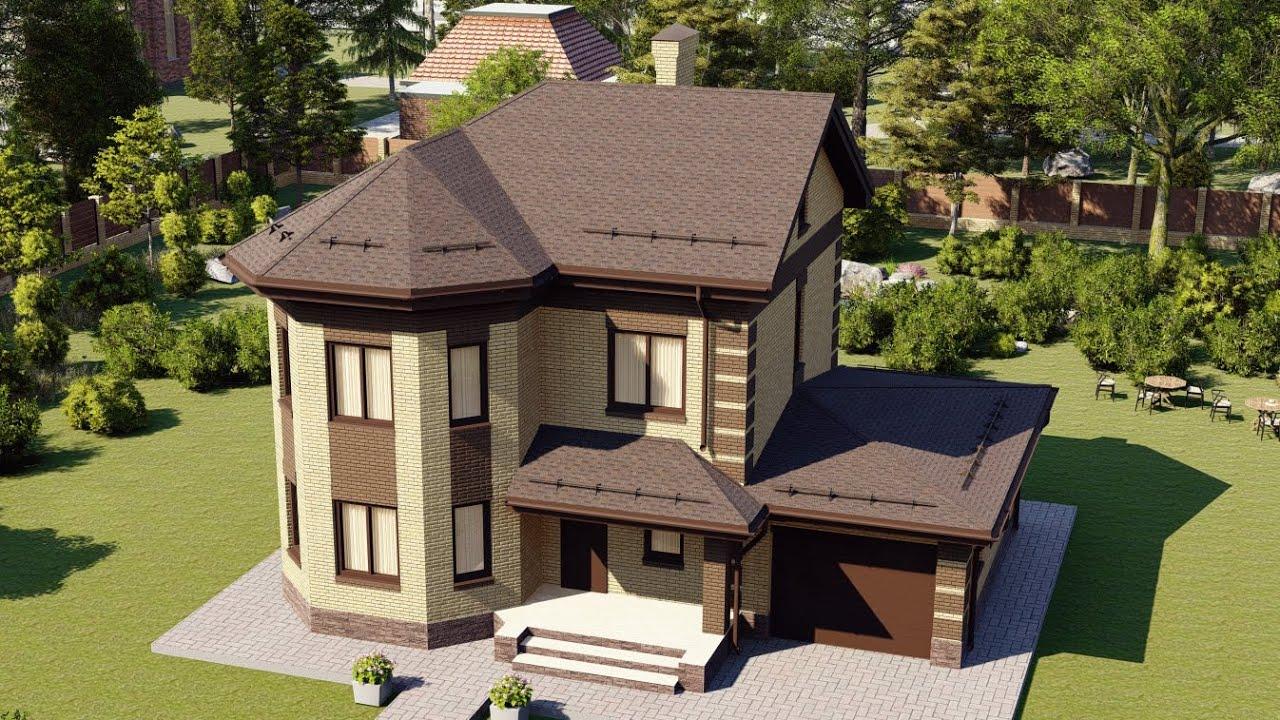Красивый дом из блока с эркером и гаражом