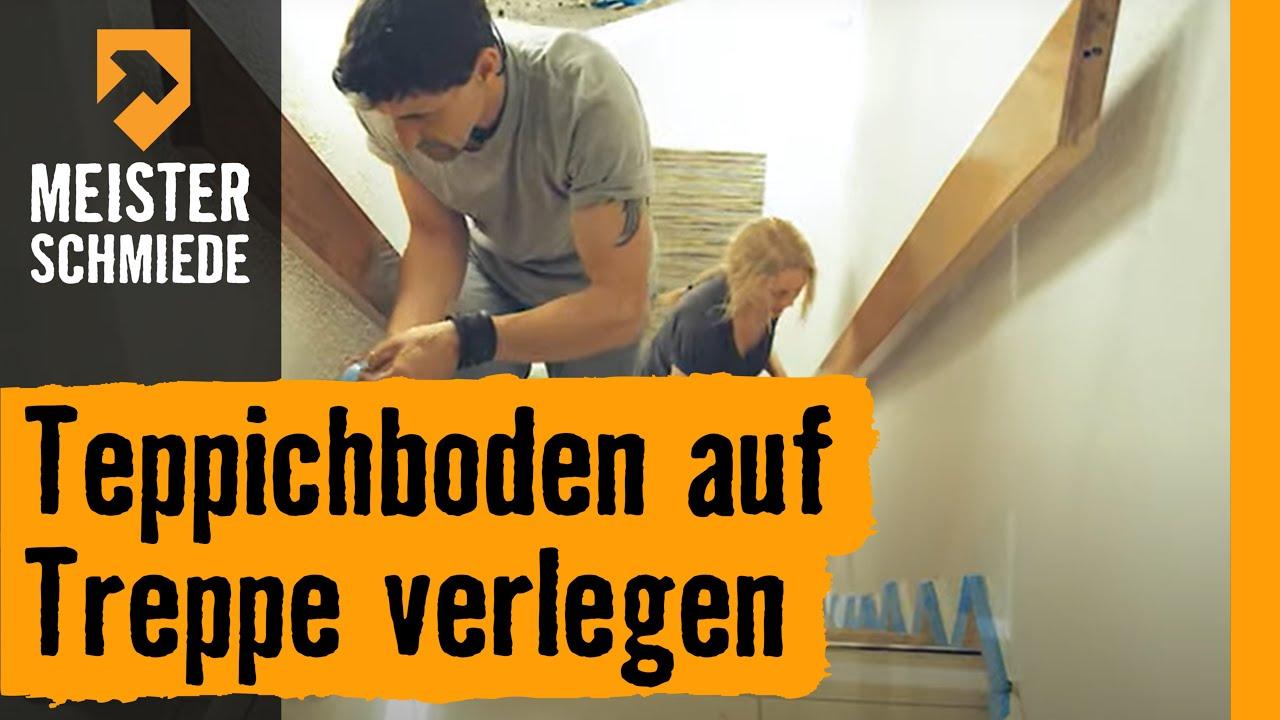Teppichboden auf Treppen verlegen title=