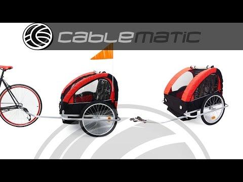 Remolque de bicicleta para transportar 2 niños doble rojo negro distribuido por CABLEMATIC ®