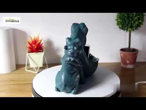 Statue Hippopotamus Sculpture Figurine Key Candy Container Decoration Home Table Decoration