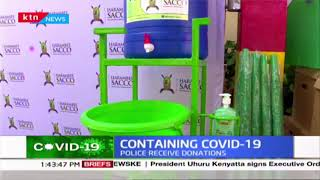 Containing COVID-19: Police officers receive donations from Harambee SACCO
