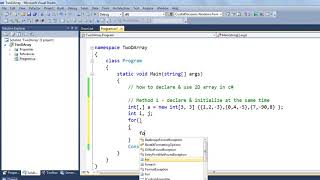 How to Declare 2D Array in C# ASP.NET