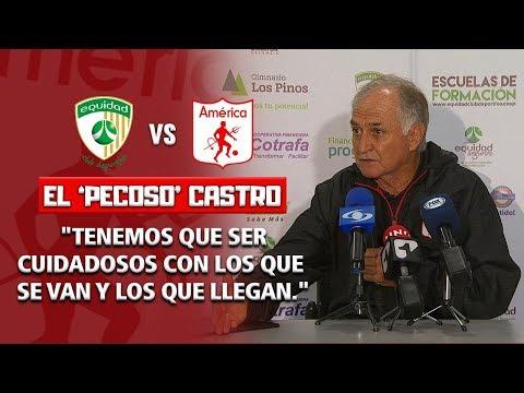 Equidad 1-2 America - Rueda de prensa Fernando 'Pecoso' Castro, tecnico de America de Cali