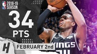 Buddy Hield Full Highlights Kings Vs 76ers 2019.02.02 - 34 Points, CLUTCH!