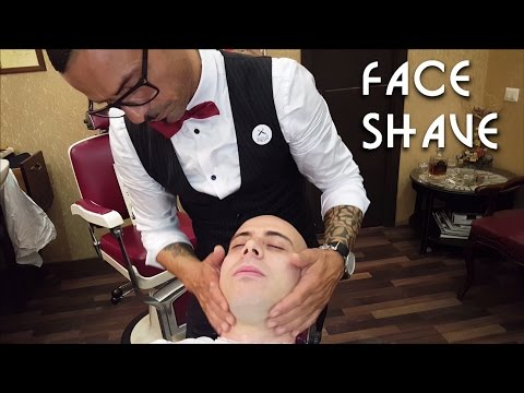 💈 Old school Barber – Face Shave with shavette and hot towel – ASMR no talking