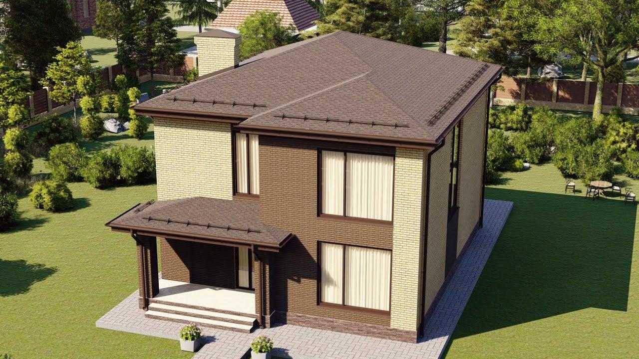 Красивый двухэтажный коттедж из газобетона 170 кв.м