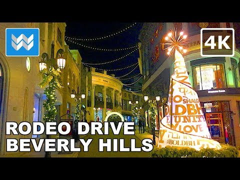 Christmas Time at Rodeo Drive, Beverly Hills | Night Walking Tour | LA Travel Guide【4K】