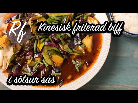Kinesisk friterad krispig biff i sötsur sås och grönsaker. Biffen skär man i strimlor och marinerar i maizena och äggvita sedan friterar man den knaprig i woken. Här med grönsaker som zucchini, salladslök, purjolök och rödkål i en sötsur woksås. Servera m>