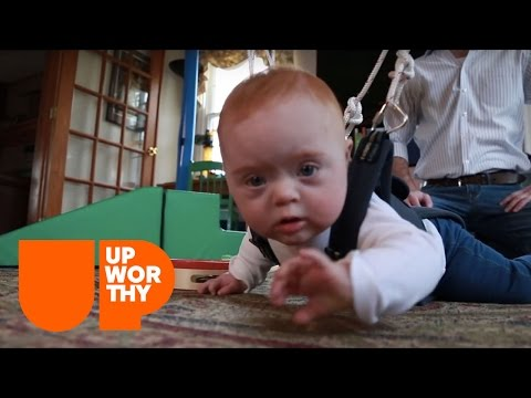Watch video This Simple Harness Helps Down Syndrome Babies