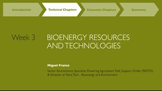 MOOC Week 3: Bioenergy Resources and Technologies