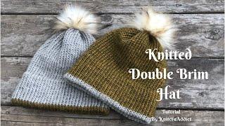 Knitted Double brim Hat ( written pattern & Tutorial )