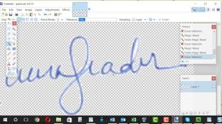 Create signature image with transparent background