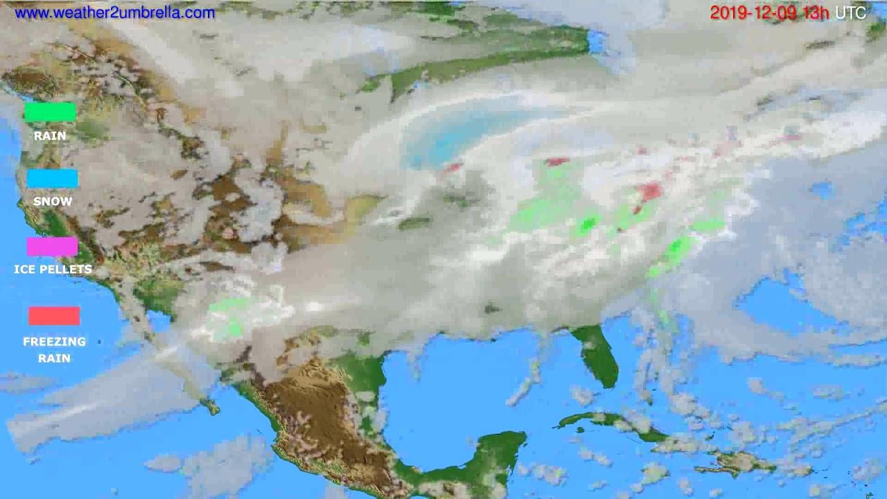 Precipitation forecast USA & Canada // modelrun: 12h UTC 2019-12-08
