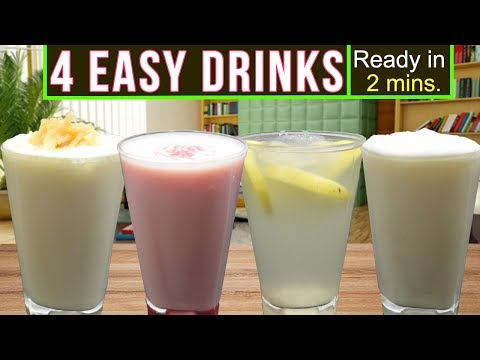 4 Delicious Easy Drinks Recipe (Ready in 2 mins!) | Summer/Ramadan Special