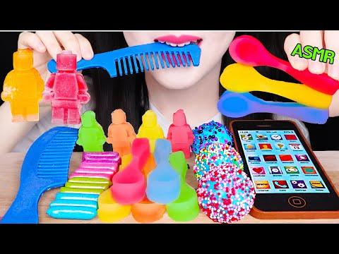 ASMR EDIBLE SPOON NIK-L-NIP, LEGO WAX BOTTLE, EDIBLE HAIR COMB, EDIBLE iPHONE 레고 닉클립, 먹는 아이폰, 숟가락 먹방