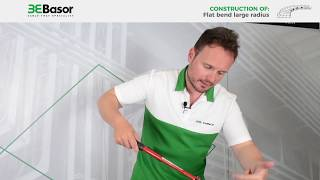 Construction of a large radius flat bend with basket trays Basorfil