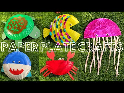 Paper Plate Craft Ideas - Crab, Fish, Shark, Jellyfish, and Turtle