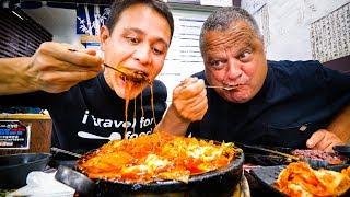 Korean Food in Los Angeles - 2 GIANT FLAMING CHEESE Ribs Cauldrons in Koreatown LA!