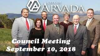 Preview image of Arvada City Council Meeting - September 10, 2018