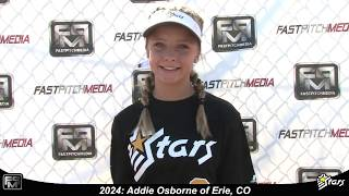 2024 Addie Osborne Shortstop and Third Base Softball Skills Video - Colorado Stars