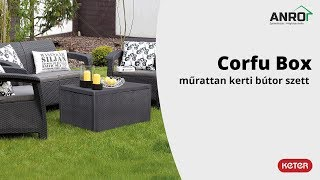 Videó: Keter Allibert Corfu Box műrattan kerti bútor szett