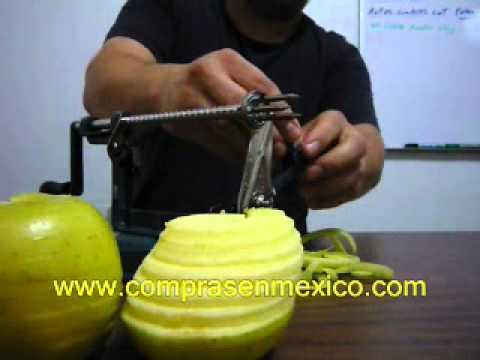 Pelador, descorazonador y cortador de manzanas en espiral
