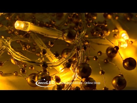 Lichterkette mit goldenen Perlen, 10er LED warmweiß