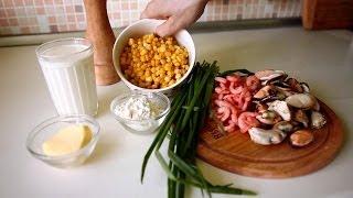Смотреть онлайн Пошаговый рецепт кукурузного крем супа с креветками