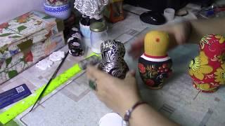 Ложка матрешка из пластиковой ложки и ткани