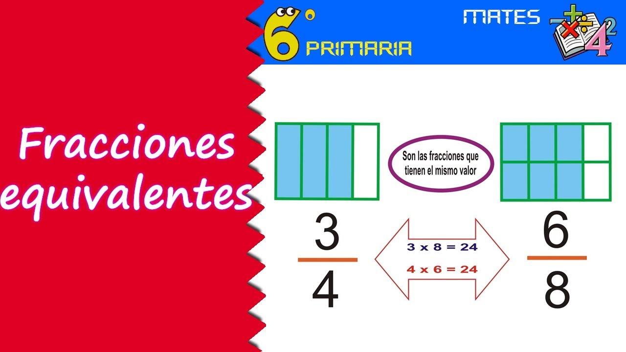 Fracciones equivalentes. Mate, 6º Primaria