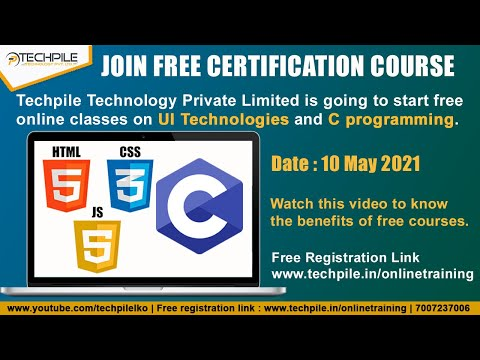 Free Certification course, Online Free Course, Free C programming course | UI Technology Fee Classes