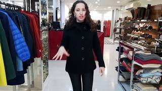 Vídeo Casaco de Lã Preto com Detalhe de Costuras Alex