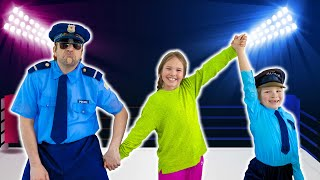 Amelia, Avelina and AKim pretend play Police training school