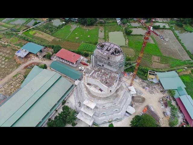 Flycam Đổ Bê Tông Tầng 10 Đại Tượng Phật A Di Đà Tại Chùa Khai Nguyên