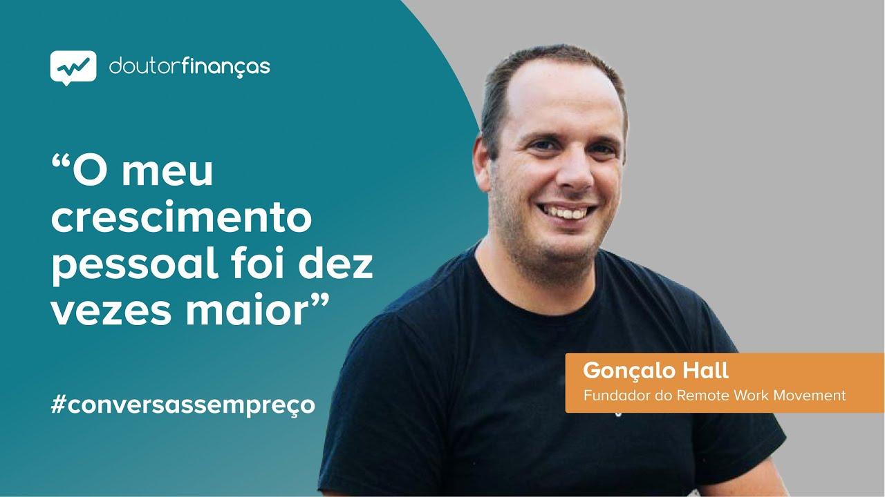 Imagem de um monitor onde se vê o programa Conversas sem Preço com a entrevista a Gonçalo Hall sobre nomadismo digital