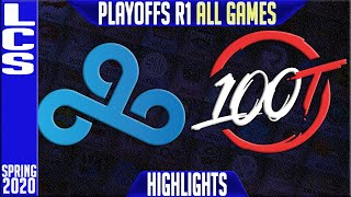 C9 vs 100 Highlights ALL GAMES | LCS Spring 2020 Playoffs Round 1 | Cloud9 vs 100 Thieves