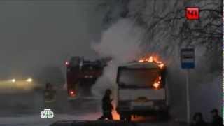В Удмуртии пассажирский автобус загорелся прямо на ходу