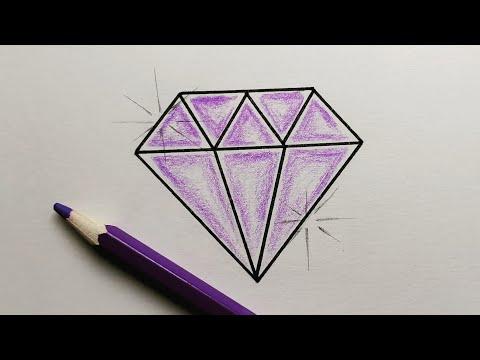How To Draw Diamond تعليم الرسم كيفية رسم ماسة جميلة مع التلوين بطريقة سهلة للمبتدئين خطوة بخطوة