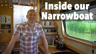 A Tour Inside Our Canal Narrowboat Home. Tiny Off-Grid Houseboat!