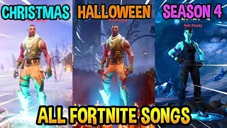 ALL FORTNITE THEME SONGS! *EMOTIONAL 😭* (Season 1, Halloween, Christmas, Season 4)