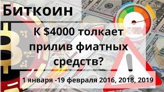 Биткоин. К $4000 толкает прилив фиатных средств? 1 января -19 февраля 2016, 2018, 2019