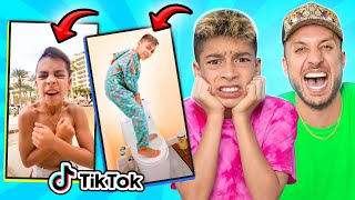 DAD Reacts to 11 Year old Son's CRINGE TIKTOKS!! 😂