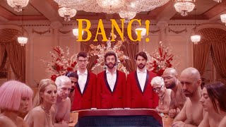 Grab the song here: http://ajrmusic.co/bang  ON TOUR: http://www.AJRBrothers.com/tour  Check us out everywhere online @AJRBrothers  Director: Se Oh Choreographer: Caleb Teicher Production: MAD RUK Entertainment     BANG!  I get up I get down And I'm jumping around And the rumpus and ruckus are comfortable now Been a hell of a ride But I'm thinking it's time to grow  So I got an apartment Across from the park Put quinoa in my fridge Still I'm not feeling grown Been a hell of a ride But I'm thinking it's time to go (Here we go)  So put your best face on everybody Pretend you know this song everybody Come hang Let's go out with a bang  I'm way too young to lie here forever I'm way too old to try so whatever Come hang Let's go out with a bang  Feel like I'm gonna puke Cause my taxes are due Do my password begin with a one or a two? Been a hell of a ride But I'm thinking it's time to grow (Metronome)  Man I'm up to something Oo-dee-la-dee-doe Thank you all for coming I hope you like the show Cause it's on a budget So oo-dee-la-dee-doe Yeah come on here we go Yeah come on (Here we go)  So put your best face on everybody Pretend you know this song everybody Come hang Let's go out with a bang  I'm way too young to lie here forever I'm way too old to try so whatever Come hang Let's go out with a bang  Been a hell of a ride But I'm thinking it's time to go  So put your best face on everybody Pretend you know this song everybody Come hang Let's go out with a bang  I'm way too young to lie here forever I'm way too old to try so whatever Come hang Let's go out with a bang