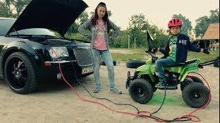 Funny Baby Denis Ride on POWER WHEEL! The Bike broken Down. Mom on Car to Help. Kids pretend play