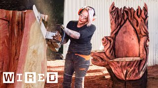 Chainsaw Artist Carves a Throne From a Giant Tree | Good Form | WIRED