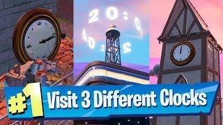 Visit different clocks (CHECK DESCRIPTION) - Fortnite Season 9 Week 8 Challenge 3 Clock Locations